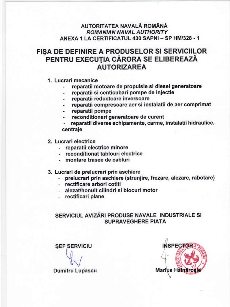 FISA PRODUSE SI SERVICE AUTORIZATE